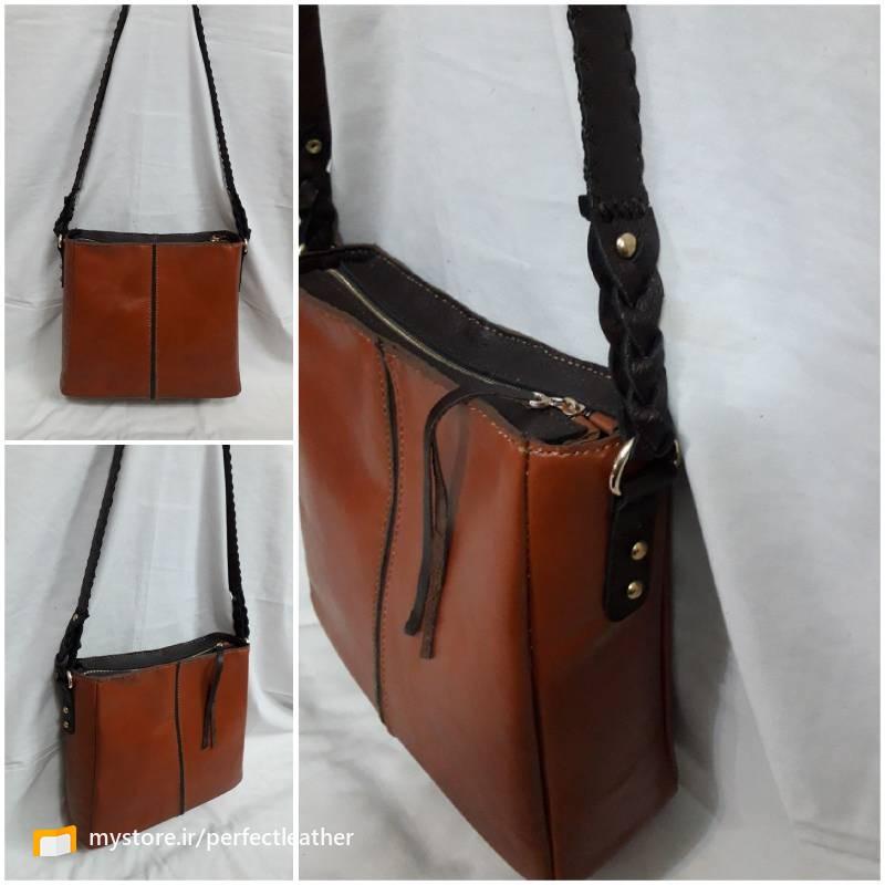 کیف زنانه دستدوز از چرم طبیعی گاو